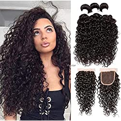 Perstar Water Wave Bundles with Closure (12 14 16+12) Unprocessed Virgin Brazilian Hair 3 Bundles With Lace Closure Free Part 100% Virgin Human Hair Natural Color