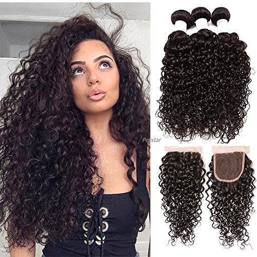 - Perstar Brazilian 3 Bundles with Closure Water Wave Hair Bundles with 4x4 Free Part Closure Unprocessed Virgin Human Hair (20 22 24+20 free part)