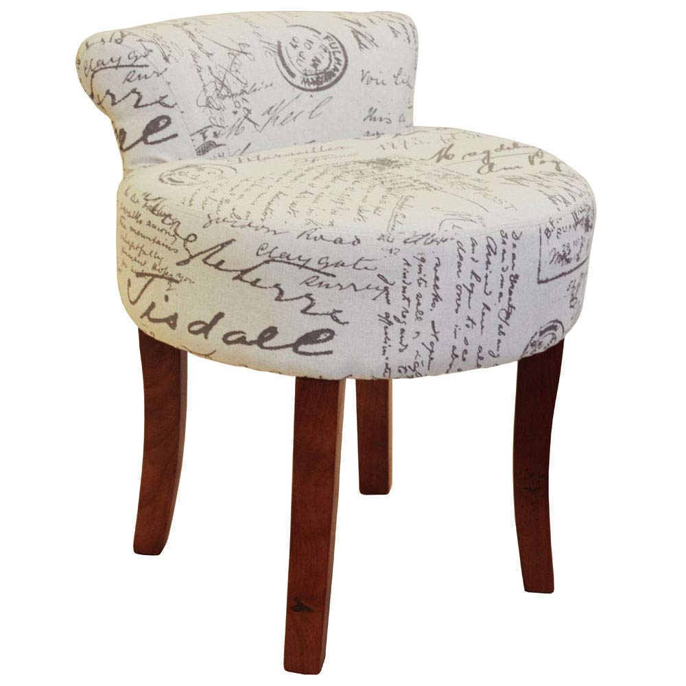 WATSONS LYON - Low Back Chair/Padded Stool with Retro French Print and Wood Legs - Cream/Brown