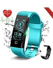 LIGE Montre Connectée,Fitness Tracker avec Moniteur de fréquence Cardiaque,Tracker activité Montre avec Podomètres,Compteur de Calories Bleu