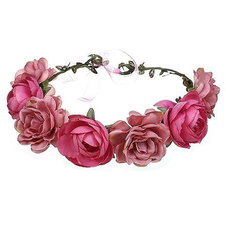 Ssowun Blumenkranz, Hochzeit, für Damen, Mädchen, Haarband mit Blumen, für Hochzeit, Party, Reise, Kopfband, Haarreif, Hochze