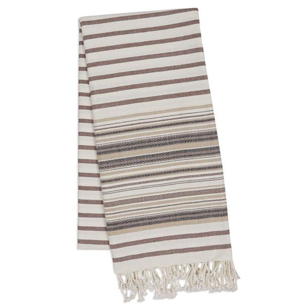 French Taupe Stripe Fouta Towel, 1 Count