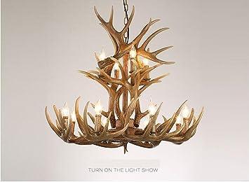 Amazon.com: Creative Retro de resina Antler lámparas de ...