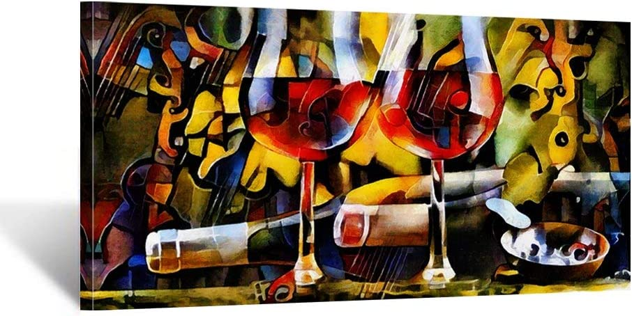 iKNOW FOTO Kitchen Wall Art Canvas Artwork Red Wine Glasses Bottles Canvas Painting Printed on Canvas Contemporary Artwork Pictures for Dining Room Walls Decor Home Decoration 20x40inch