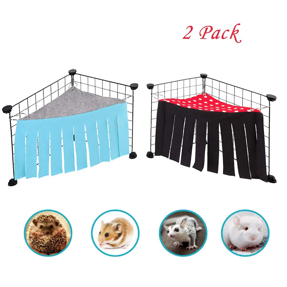 Metacrafter Guinea Pig Hideout Corner Fleece Forest Hammock Bed for Ferret, Chinchillas, Hamster, Hedgehogs, Rat, Bunny, Squirrel, Gerbil Small Animal Pet Cage Hanging Nap Sack Playing Toys (2 Pack)