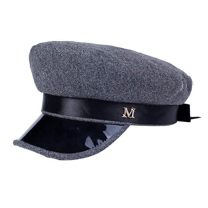 3a7729597fc BESTOYARD Women Mariner Breton Cap Yacht Captain Sailor Hat M Letter ...