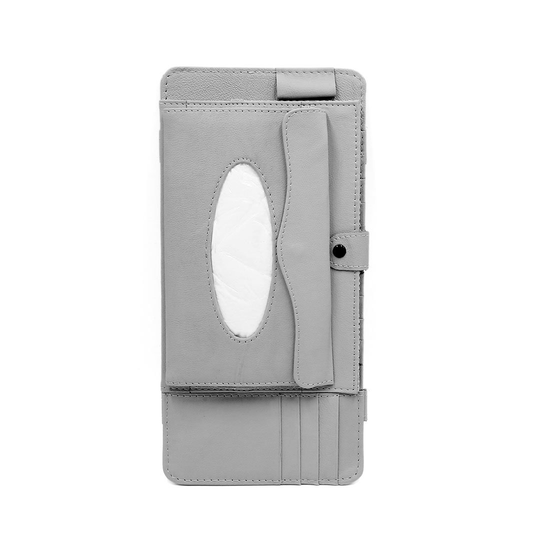 uxcell Gray Faux Leather Multifunctional Vehicle Car Sun Visor CD Holder Napkin Pouch