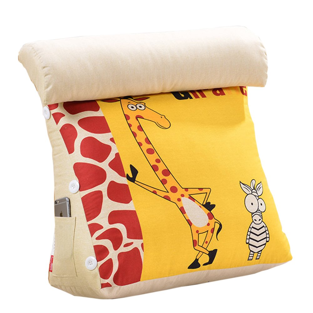 Exttlliy Removable Triangle Pillow Back Wedge Cushion Sofa Bed Backrest with Adjustable Headrest Pillow for Home Office (Giraffe)