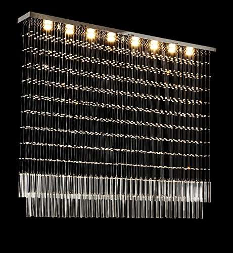 Moooni Rectangular Crystal Chandelier Lighting Modern Ceiling Light Fixture for Kitchen Island L59″ x W7.9″ x H51″