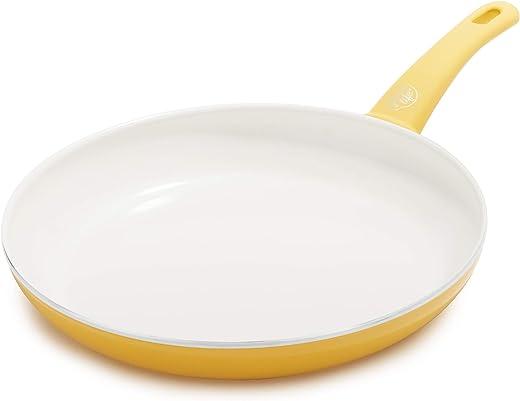 مقلاة / مقلاة صفراء غير لاصقة مصنوعة من السيراميك الناعم من جرين لايف، 30.48 سم