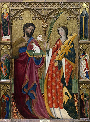 Oil Painting 'Sevilla Juan De Retablo De San Juan Bautista Y Santa Catalina 1425 50' 12 x 16 inch / 30 x 41 cm , on High Definition HD canvas prints, Home Office, Home Theater And Living Room decor