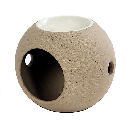 Portavelas, aroma calientaplatos, lámpara aromática, Bola de esencias (cerámica como en beige
