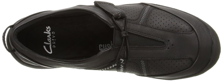 CLARKS Women's Asney Slipon Fashion Sneaker B0195GUAFE 6.5 B(M) US Black Leather