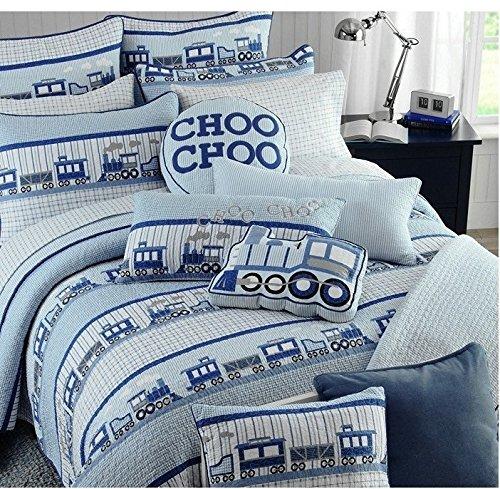 Brandream 3 Piece Kids Comforter Set Train Theme Boys Queen Quilt Bed Set
