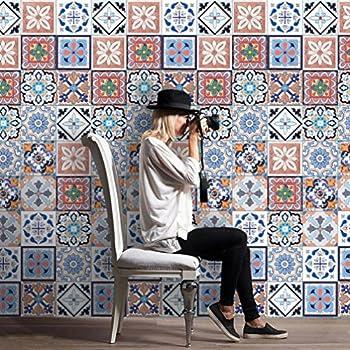 Highpot 25Pcs Self Adhesive Tile DIY Art Wall Decal Sticker Kitchen Bathroom Decor (A)