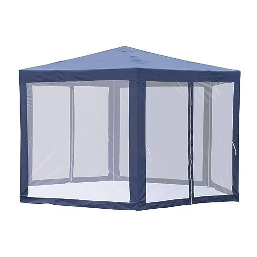 Outsunny Carpa Gazebo Tipo Cenador Hexagonal con Mosquitera para Jardín y Terraza φ3.9m Material de Poliéster Repelente al Agua (Azul)