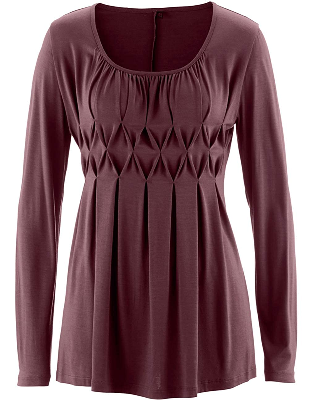 Womens Tunic Tops Smocked Round Neck Sweatshirts Clearance Teen Girls Shirt Pullover Jumper Tops Blouse Sweater Jacket