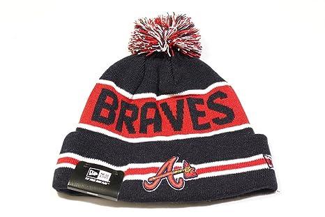19aed6af14a90 Amazon.com : Atlanta Braves The Coach Striped Cuffed Pom Knit Beanie ...