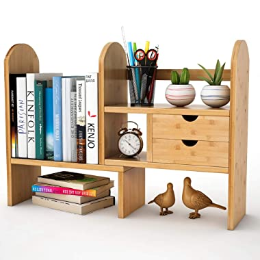 Tribesigns Bamboo Desktop Bookshelf Counter Top Bookcase Adjustable with 2 Drawers, Desk Storage Organizer Display Shelf Rack for Office Supplies, Kitchen,Bathroom, Makeup (Natural)