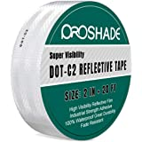 DOT-C2 White Reflective Tape, Reflector Conspicuity Tape Stickers High Intensity Waterproof (2'' × 20')