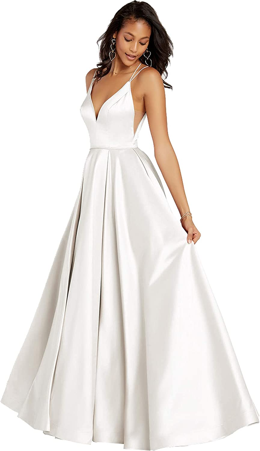 Beauty Bridal Womens Spaghetti Straps Prom Dresses for Women Satin Formal Evening Gown Z05