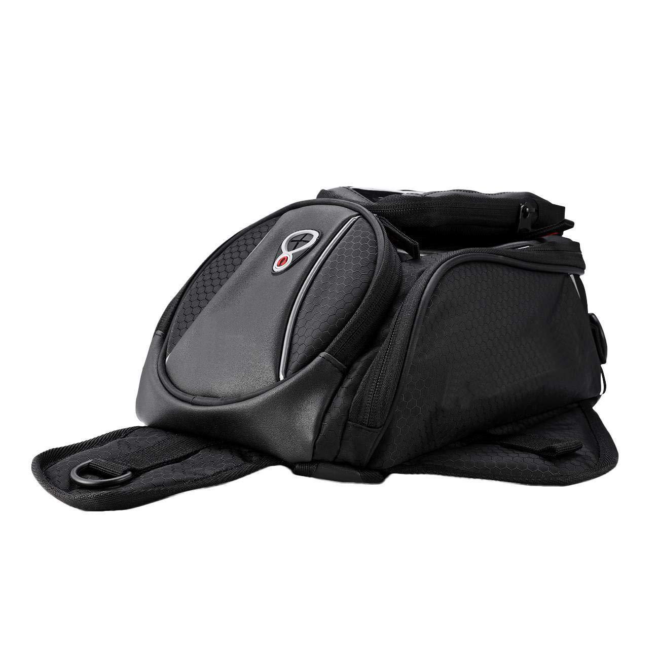 INNOGLOW Black Universal 800DPU waterproof oxford cloth Motorcycle Sport Bike Riding Fuel Gas Tank Helmet Waterproof Bag Backpack fit for Harley, Honda, Yamaha, Suzuki, Kawasaki, Triumph
