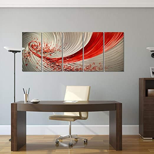 Red Explosion Metal Wall Art -  Abstract red wall art