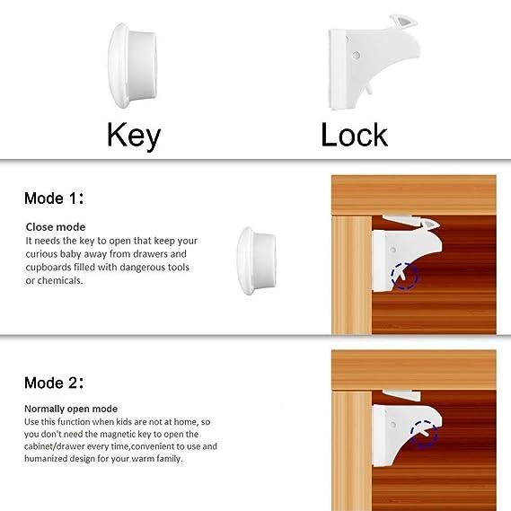 Fabe Invisible magnético bebé Cerraduras de Seguridad para Bebés y Niños Pequeños - 4 cerraduras + 1 llave - fácil instalación sin tornillos ni agujeros ...