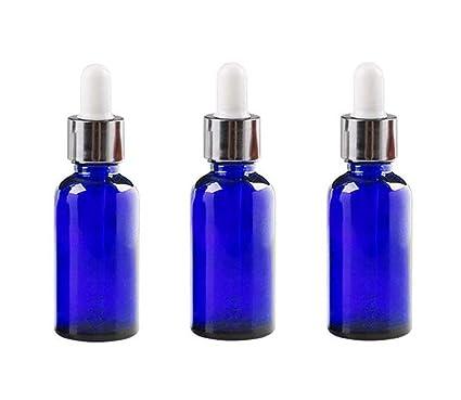 3 tarros de botellas de cristal vacíos con tapa de goma blanca para rellenar aceites esenciales