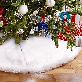 Amazon.com: AerWo Faux Fur Christmas Tree Skirt 48 inches Snowy ...