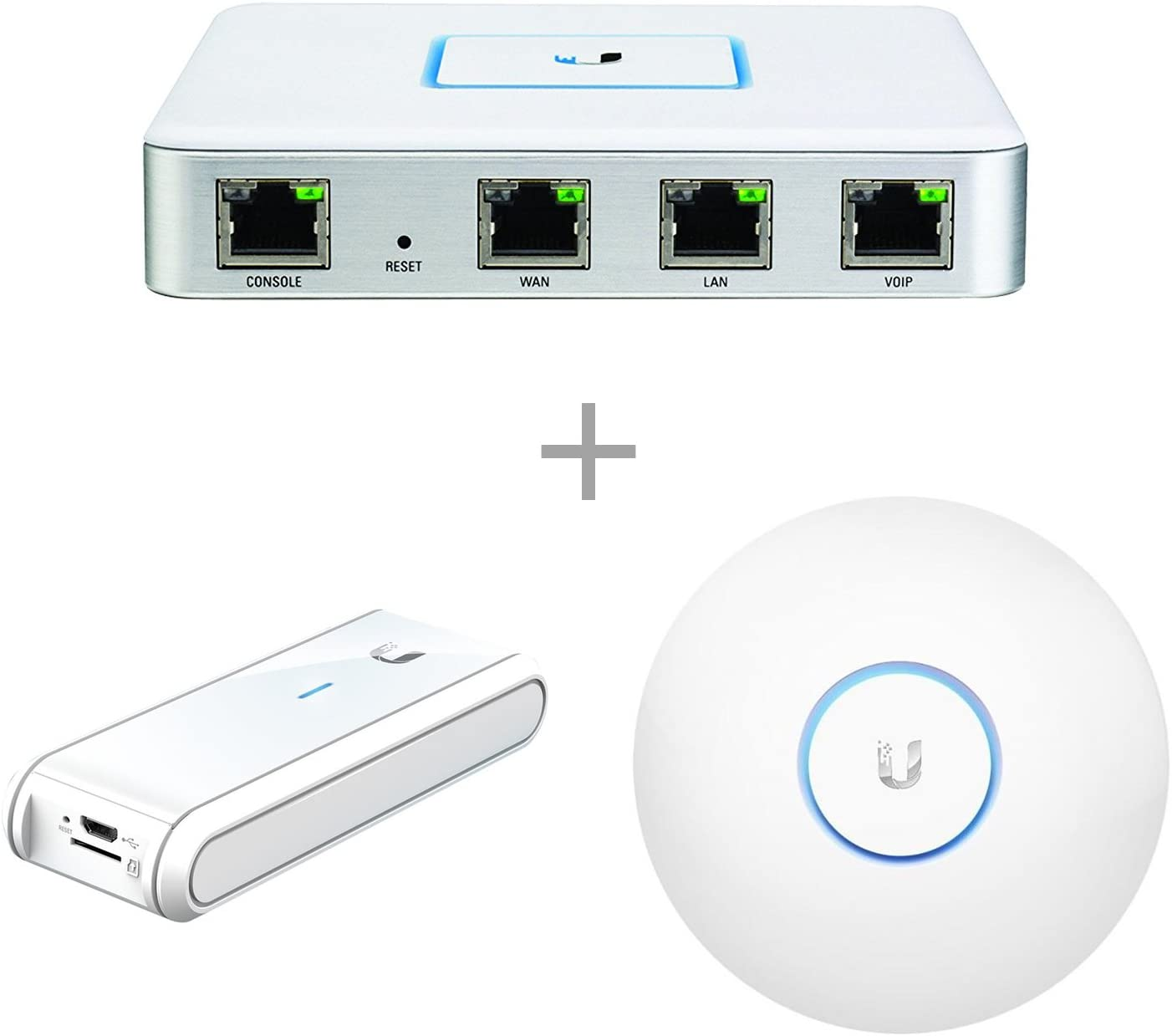 Ubiquiti Networks USG Unifi Security Gateway Bundle with Ubiquiti UC-CK Unifi Cloud Key, Remote Control Device & Ubiquiti UAP-AC-LR-US Unifi AP-AC Long Range Wireless Access Point