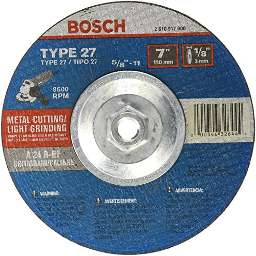 Bosch CG27M701 7 In. 1/8 In. 5/8-11 In. Arbor Type 27 24 Grit Light Grinding/Metal Cutting Abrasive Wheel