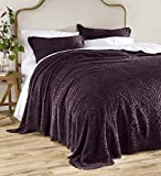Wedding Ring Tufted Chenille Full Bedspread, Eggplant