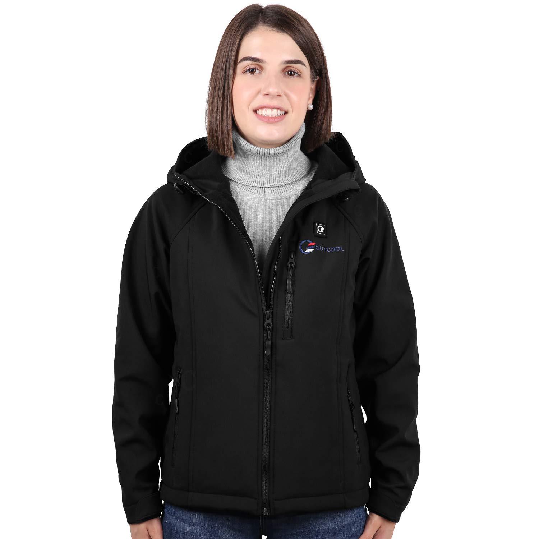 OUTCOOL Women's Heated Jacket with Hood Slim-Fit Heating Jacket (Type: NJK1801)