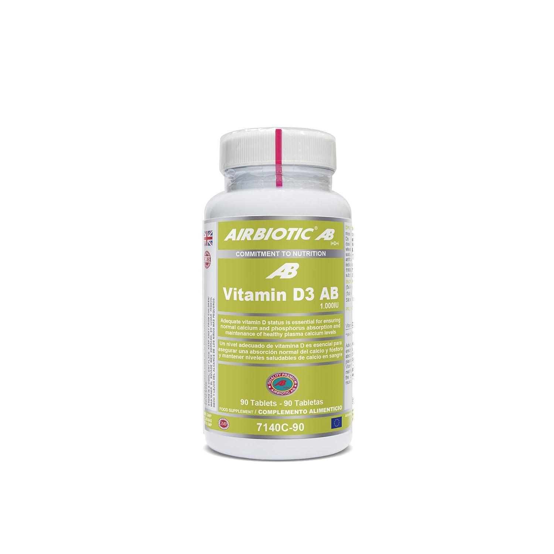 Airbiotic AB - Vitamin D3 AB 1.000UI - 90 tabletas. Vitaminas para huesos, dientes y el Sistema Inmunitario: Amazon.es: Salud y cuidado personal