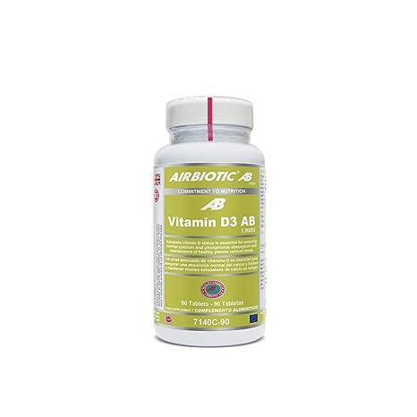 Airbiotic AB - Vitamin D3 AB 1.000UI - 90 tabletas. Vitaminas para huesos,