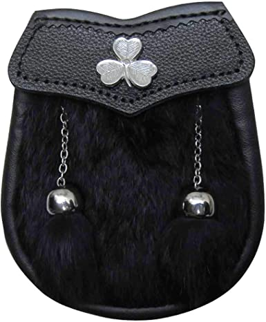 Black Embossed Leather Irish Shamrock Badge Sporran for Kilts w// Chain Belt