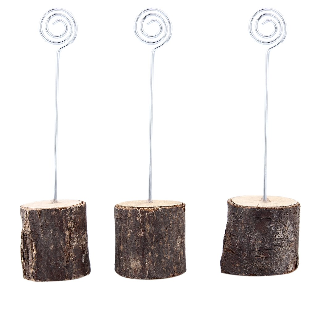 ECHI-Home Rustic Real Wood Base Wedding Table Name Number Holder Party Decoration Card Holders Picture Memo Note Photo Clip Holder (20-Pack) by ECHI-Home (Image #6)
