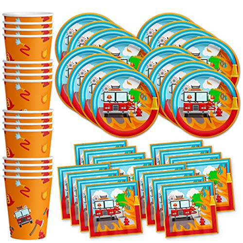 Fire Fighter Truck Birthday Party Supplies Set Plates Napkins Cups Tableware Kit for 16 -