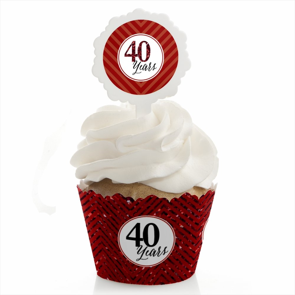 Big Dot of Happiness We Still Do - 40th Wedding Anniversary - Cupcake Wrapper and Pick - Cupcake Decorating Kit - Set of 24