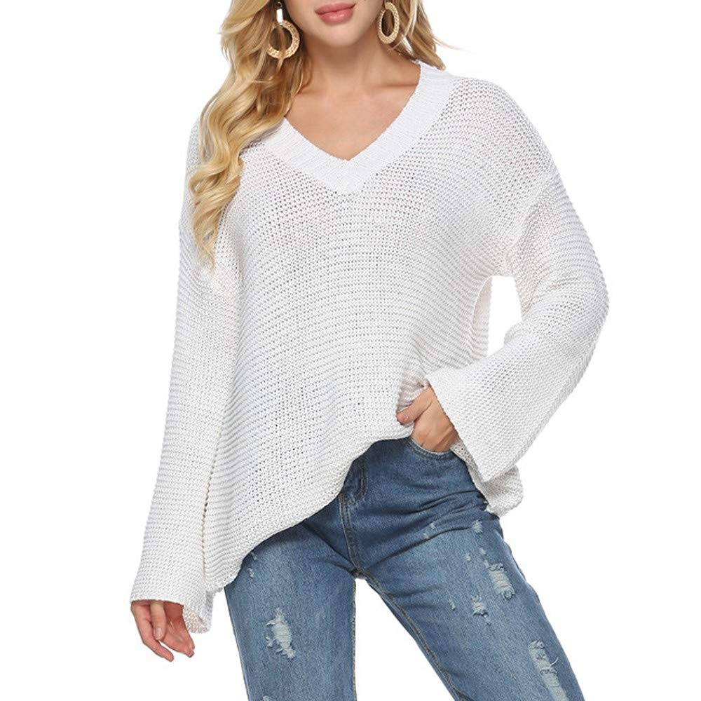 JOFOW Womens Sweaters,Solid V Neck Slim Basic Classic Long Sleeve Tunic Knitwear Knitted Tops Blouses Pullovers for Women (M,Wihte)