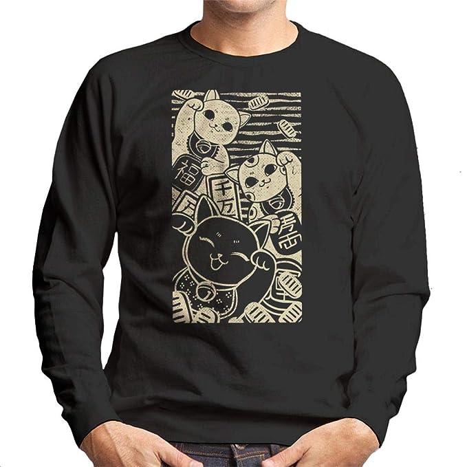 Cloud City 7 Wish Me Luck Maneki Neko Mens Sweatshirt: Amazon.es: Ropa y accesorios