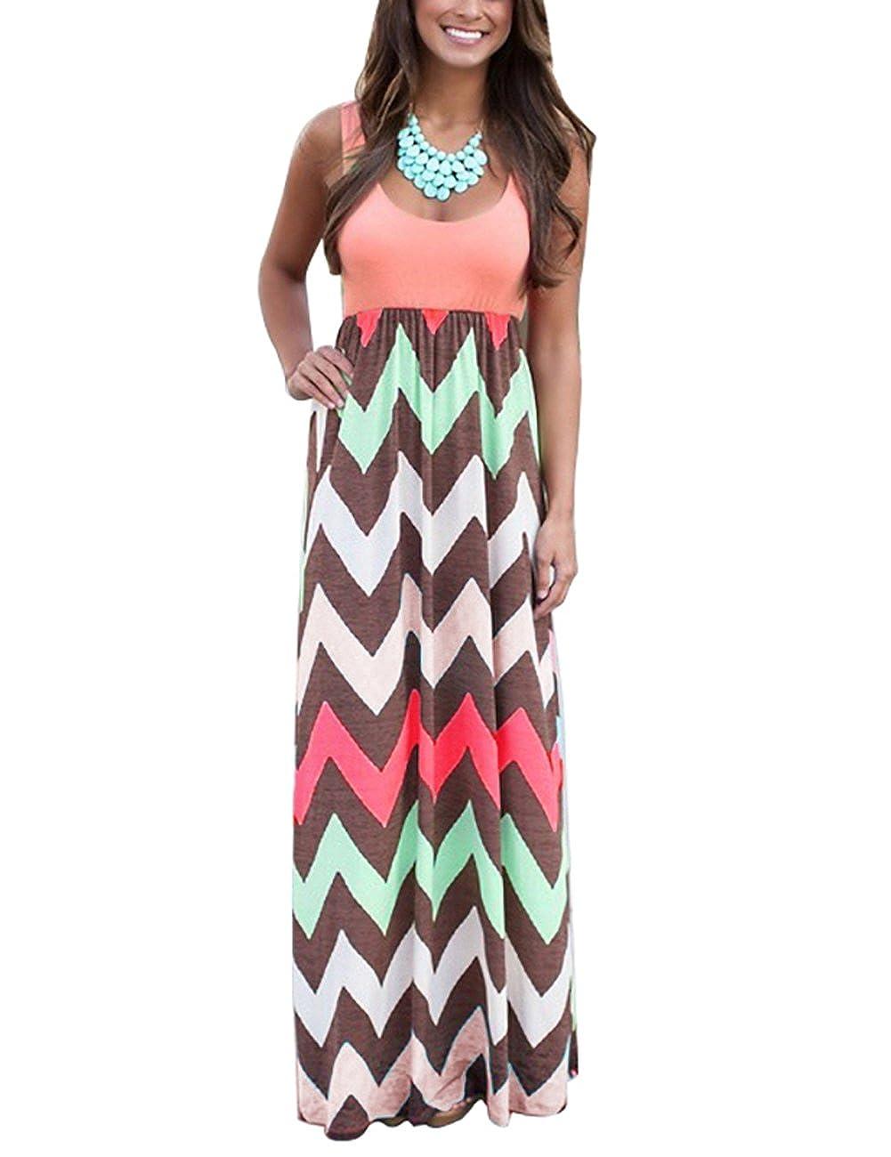 Yidarton Sommerkleid Damen mit V-Ausschnitt Lang High Waist Elastische Striped Sleeveless Beach Kleid Partykleid Elegant