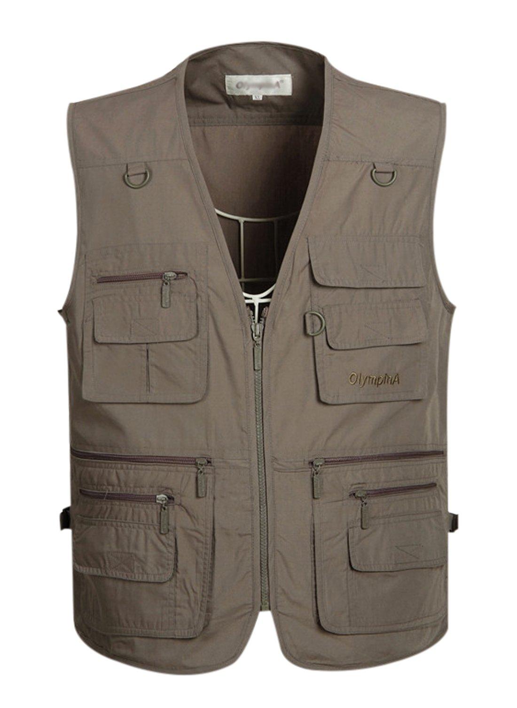 Gihuo Men's Summer Cotton Leisure Outdoor Pockets Fish Photo Journalist Vest Plus Size (L, Grey)