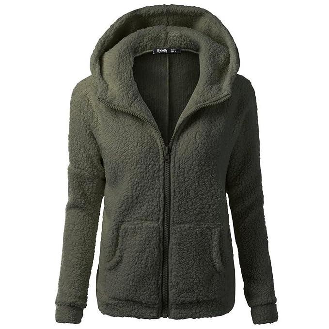 TUDUZ Damen Winter Fleece Kapuzen-Pullover Hoodie Sweatshirt Sweat-Jacke  Thermo Gefüttert (S 18a0ca28a2