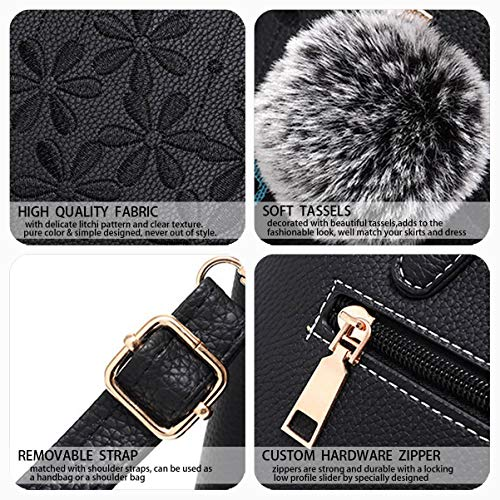 mano hombro y Fekete clutches bolsos Mujer y Shoppers bandolera Bolsos de Carteras de wBF4xzBqI