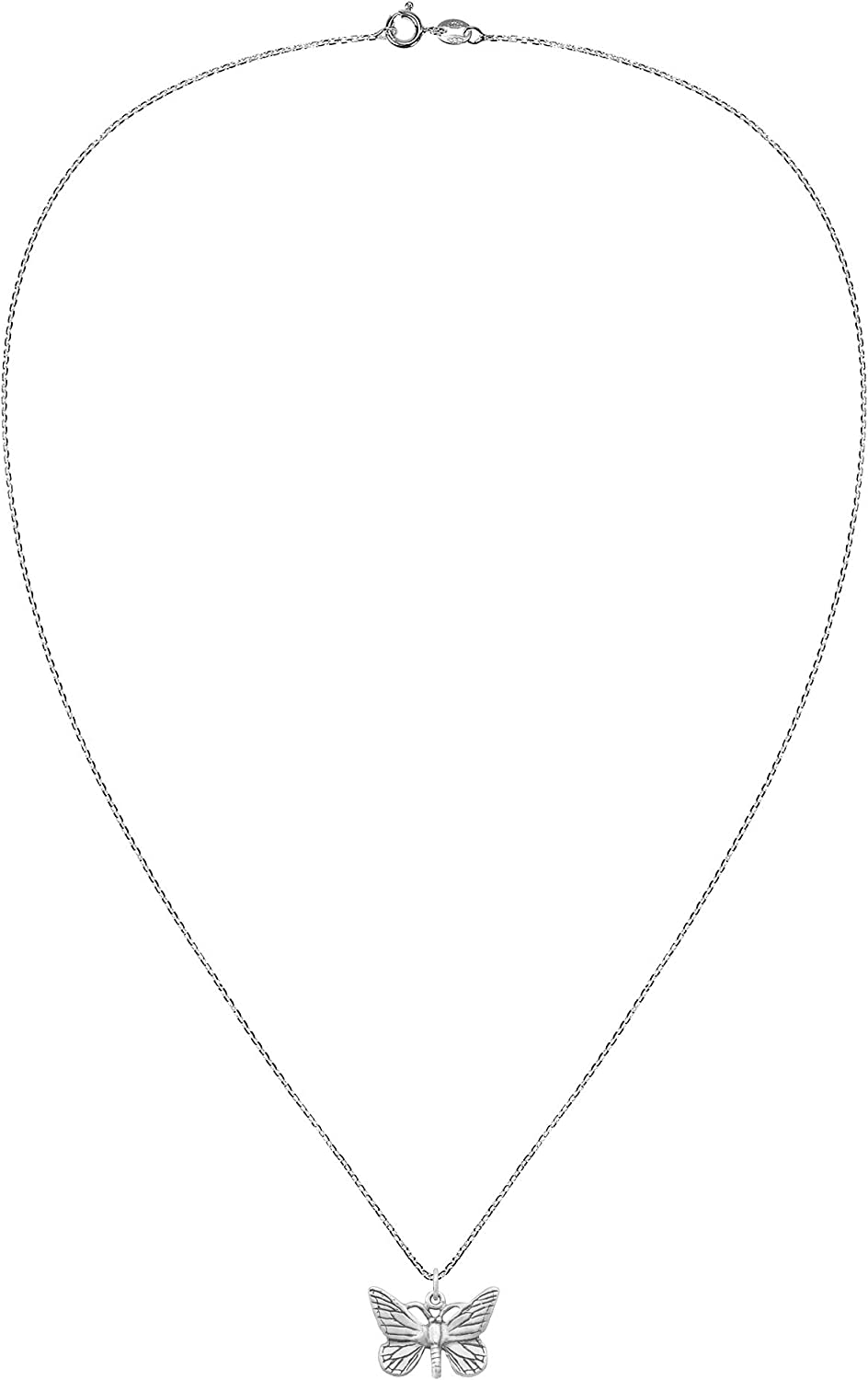 AeraVida Delicate Monarch Butterfly .925 Sterling Silver Pendant Necklace