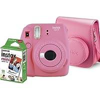 Kit Câmera Instantânea Instax Mini 9 Rosa Flamingo + Filme Instax Mini 10 fotos + Bolsa Rosa Flamingo, Fujifilm