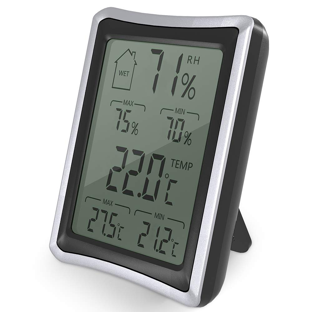 BENGOO Home Humidity Monitor Indoor Hygrometer Thermometer Stand/Wall Mount with 4 inch Large, LCD Display for Baby Room Bedroom Office Greenhouse Warehouse by BENGOO