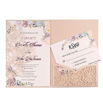 Amazon.com: 20 tarjetas de invitación de boda FEIYI de 3 ...